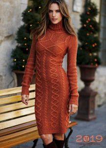 Теракотовое вязаное платье