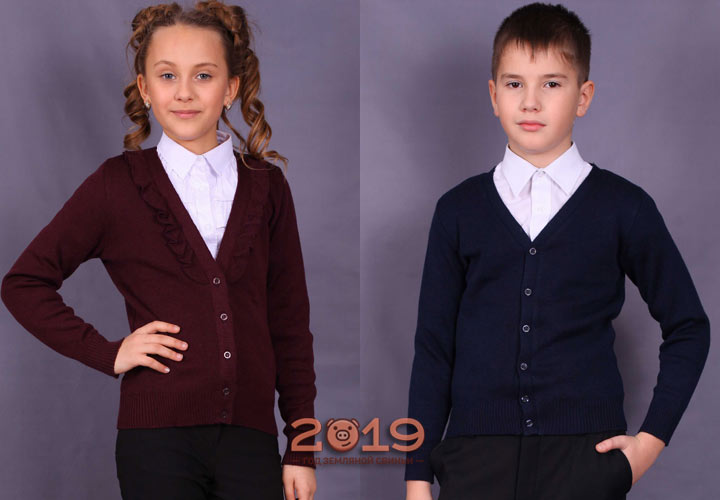 Fashionable knitted cardigans - school uniforms