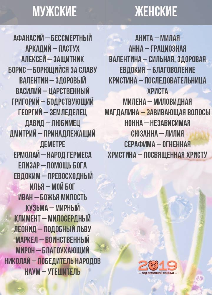 Днем, женские имена красивые современные русские 2019 по месяцам