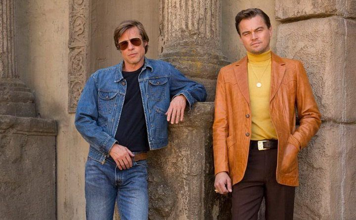 Dicaprio and Pitt on the set