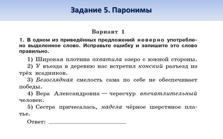 Подготовка к ЕГЭ 2019 по русскому языку тема паронимы