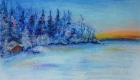 Рисунок зимний пейзаж сухой пастелью
