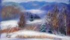Зима пейзаж, сухая пастель