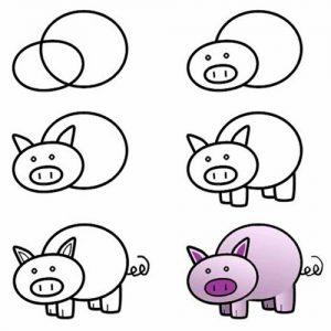 Как рисовать свинку
