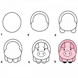 Простая свинка рисуем поэтапно