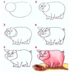 Реалистичная свинка поэтапный рисунок