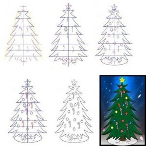 Красивая новогодняя елка как рисовать