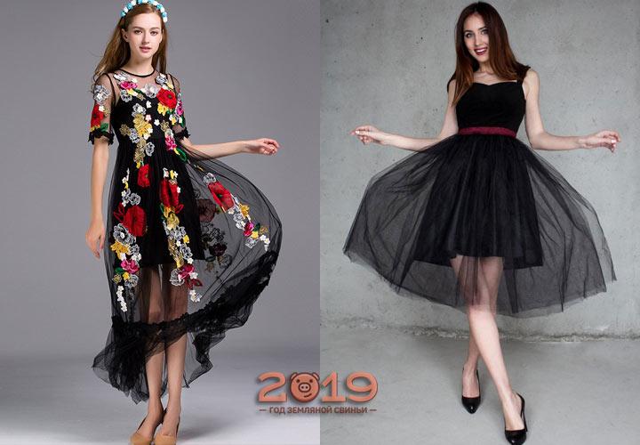 Модное черное платье зима 2018-2019