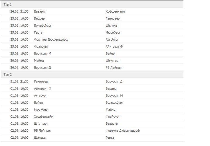 расписание чемпионата Германии по футболу 2018/2019