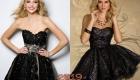 Черное новогоднее платье