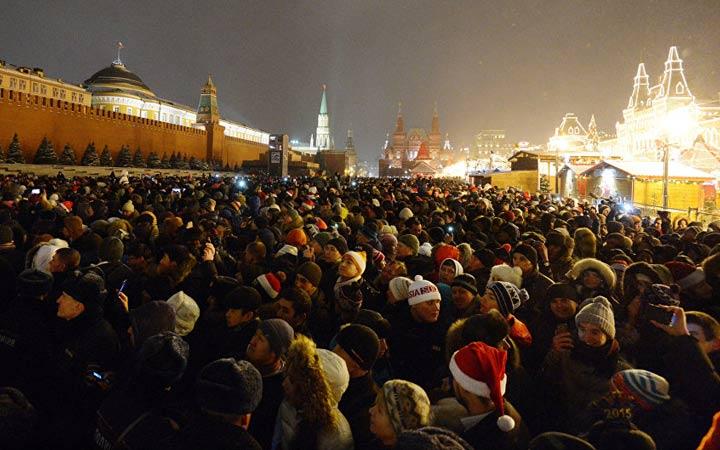 Красная площадь в новогоднюю ночь