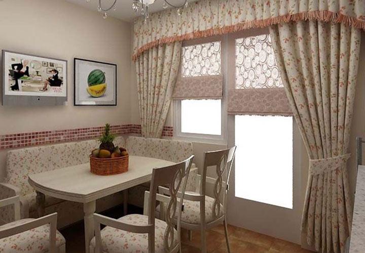 Пудровые шторы в кухню мода 2019 года