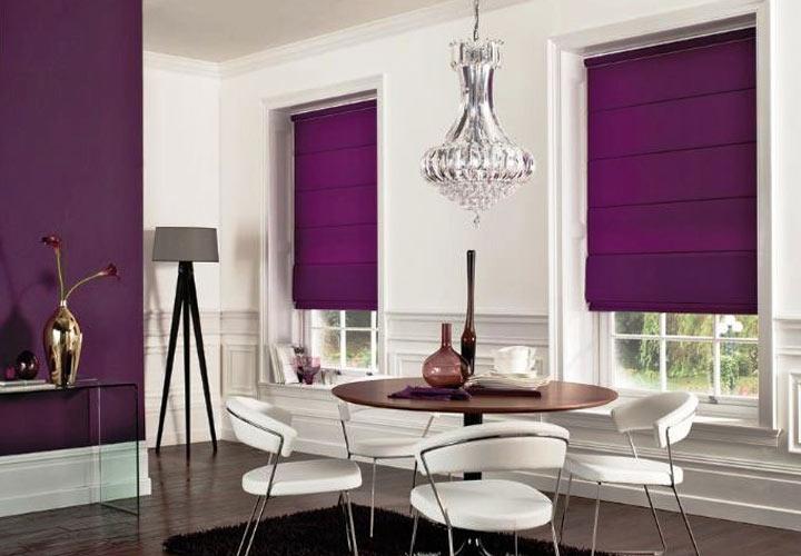 Фиолетовые шторы в кухню мода 2019 года