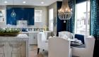 Синие шторы в кухню мода 2019 года