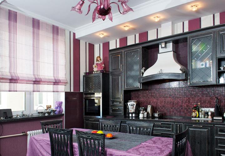 Кухонные шторы контрастных оттенков