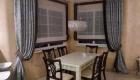 Кухонная штора с контрастной отделкой цвета венге