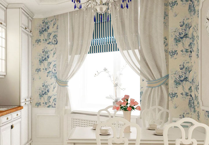 Льняные шторы для кухни