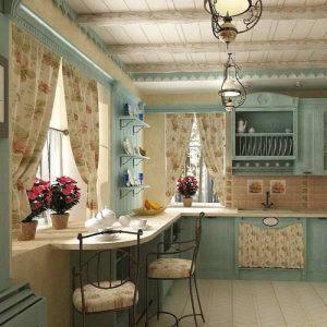 Кухня в стиле кантри выбираем шторы