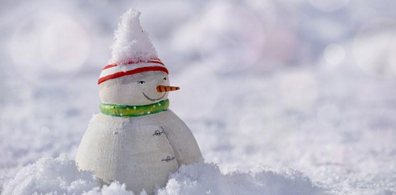снеговик в снегу