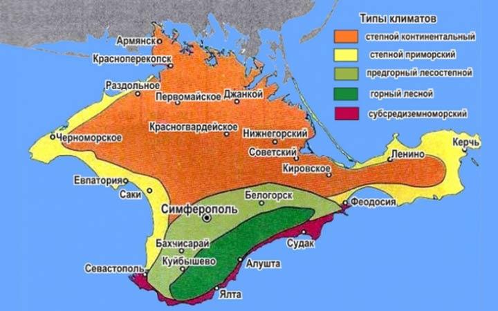 Климатическая карта Крыма