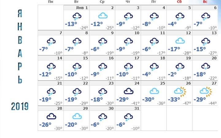 Погода в Новосибирске в январе 2019 года