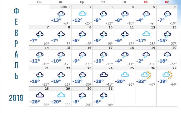 Погода в Новосибирске в феврале 2019 года
