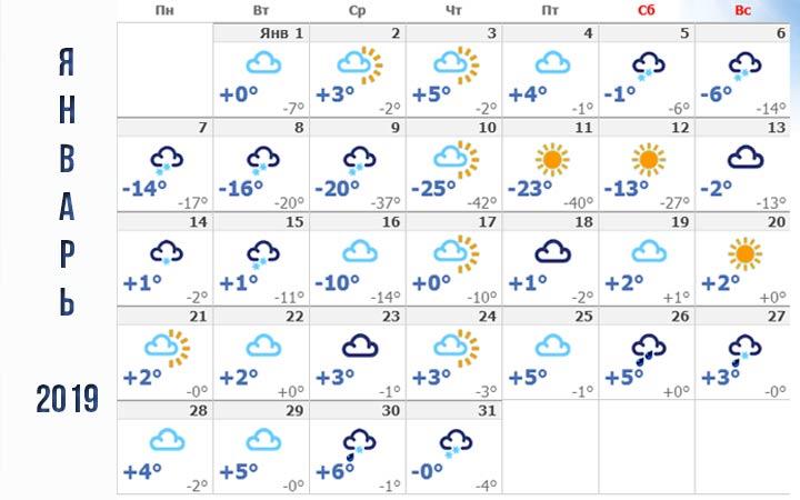 Погода в Ставрополе январь 2019 года