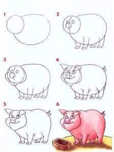 Рисуем поэтапно реалистичную свинку