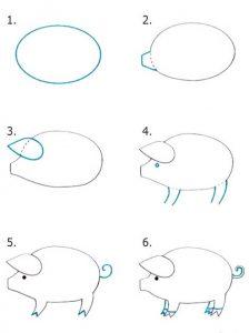 Самый простой рисунок поросенка