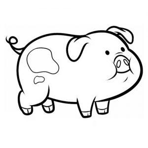 Свинка контур раскраска