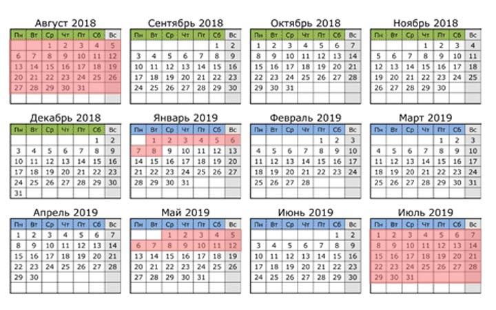 Каникулы у студентов в 2018-2019 году