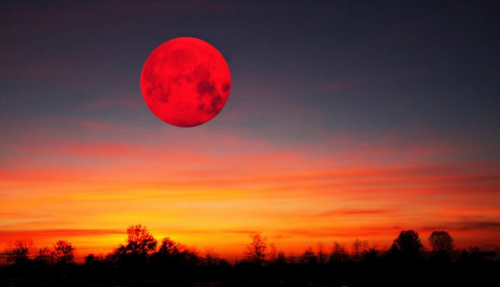 red moon over the field