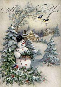 Новогодняя открытка 2019 года со снеговиком