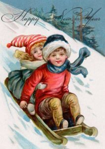 Новогодняя открытка малыши на санках