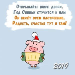 Открытка на 2019 год свиньи