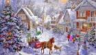 Рождественская открытка с деревней