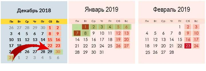 Календарь зимних праздников 2019 года