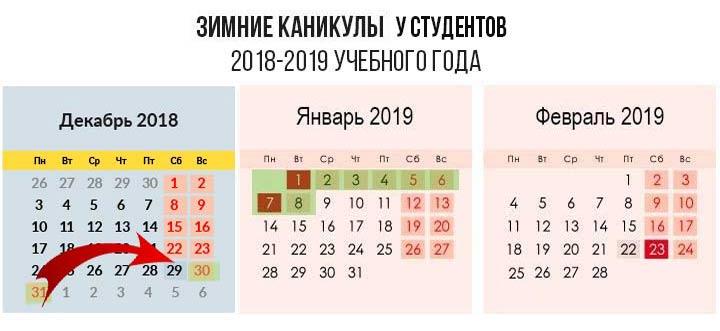 Зимние каникулы 2019 у студентов