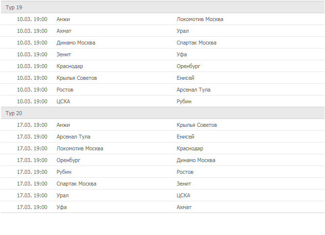Премьер-Лига России по футболу в 2018-2019 году: календарь