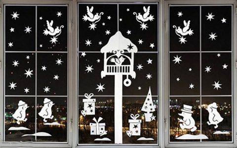 Новогоднее украшение окна в 2019 году