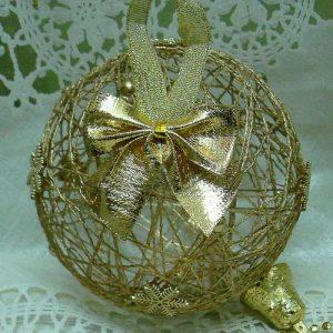 Золотой шар из ниток