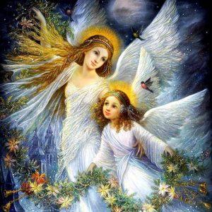 Рождественская открытка с ангелом