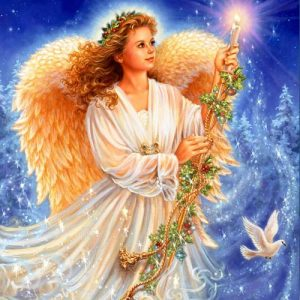 Открытка к Рождеству с ангелом