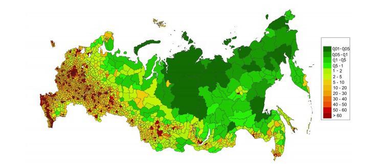 карта россии по численности населения
