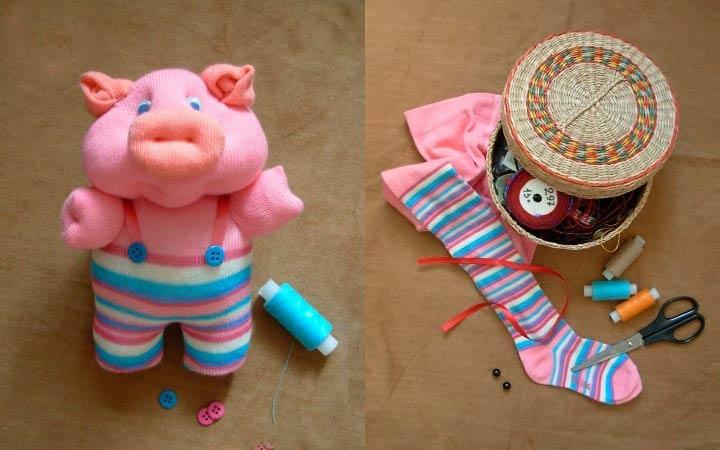 Свинка из колготок своими руками
