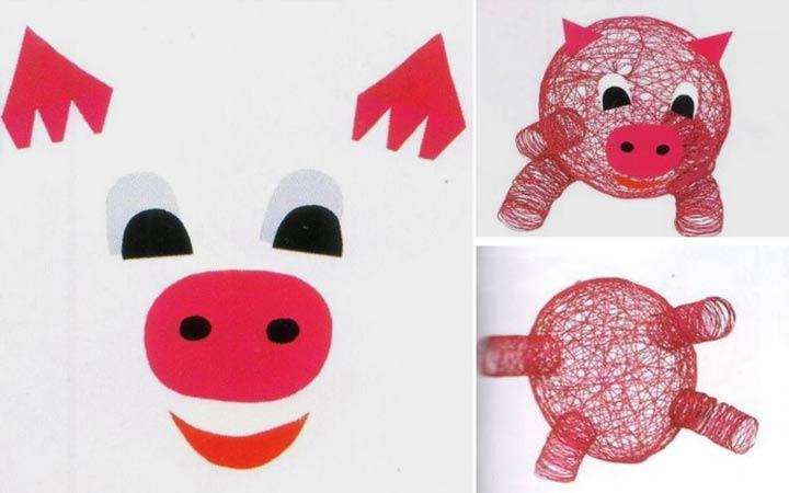 Необычная свинка из ниток