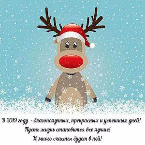 Прикольная открытка с оленем на 2019 год