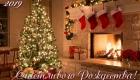 Открытка на Рождество камин и елка