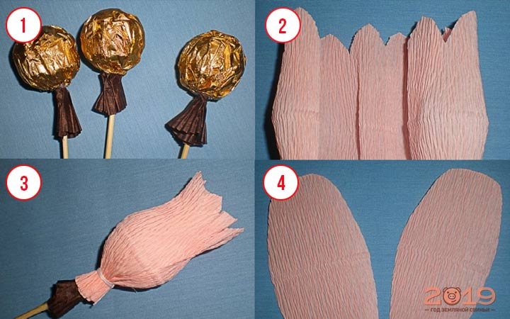 Цветы из конфет шаг 1