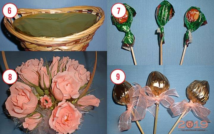 Цветы из конфет шаг 3